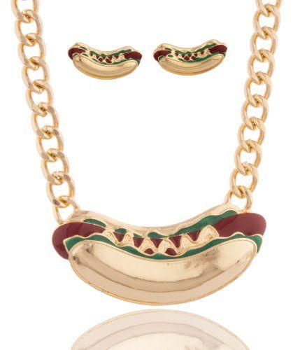 Goldtone Hot Dog Pendant Adjustable 18 Inch Cuban Chain Necklace with Matching Stud Earrings JOTW http://www.amazon.com/dp/B00JR9HVQG/ref=cm_sw_r_pi_dp_hvHmvb1GEVF7Q