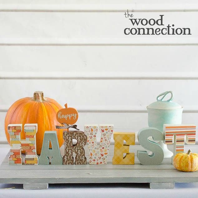 Harvest wood letters cover with Falling Leaves papers by Photo Play Paper