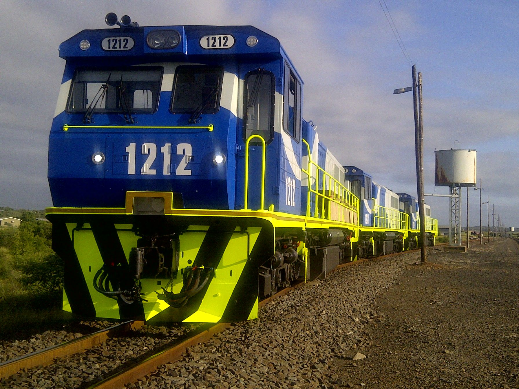 RRL Grindrod locomotives enroute through Swaziland for export out of Durban harbour to AML in Sierra Leone