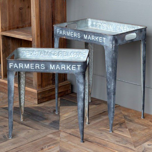 Farmer/'s Market Oval Rustic Tin Country Home Decor 3-Sizes 1