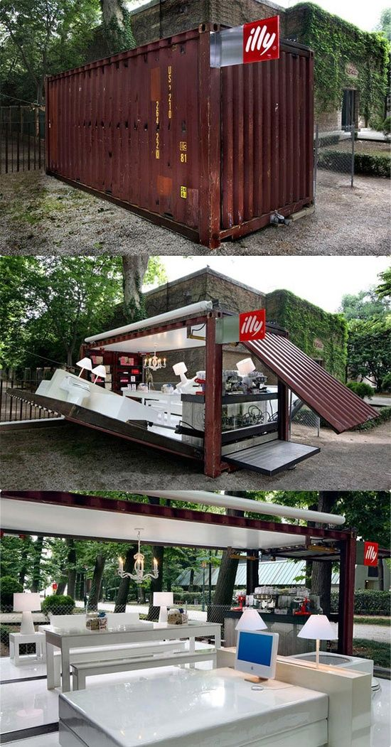 Not something new (2007), and still a great idea. Coffee shop in a box: in a shipping container. Made by Illy. #Architecture