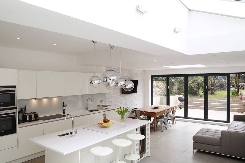 White Kitchen Extensions all white kitchen island design in high gloss lacquer kitchen