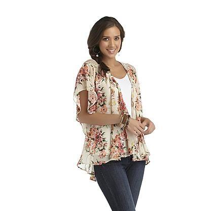 Metaphor Women's Kimono Top - Floral - Sears