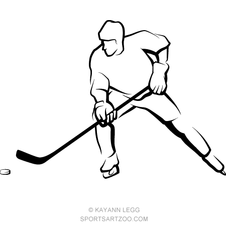 Ice Hockey Player Skating With Puck Sportsartzoo Hockey Players Ice Hockey Players Hockey Drawing