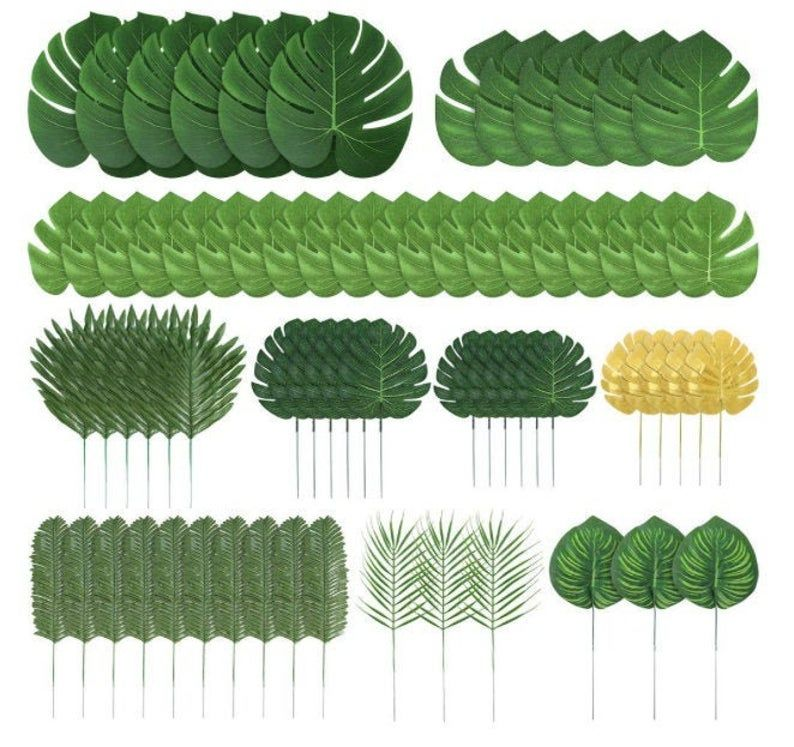 70 Pieces 10 Kinds Artificial Palm Leaves Tropical Leaves Decoration Jungle Party Decorations Beach Birthday Luau Hawaiian Party Decorations