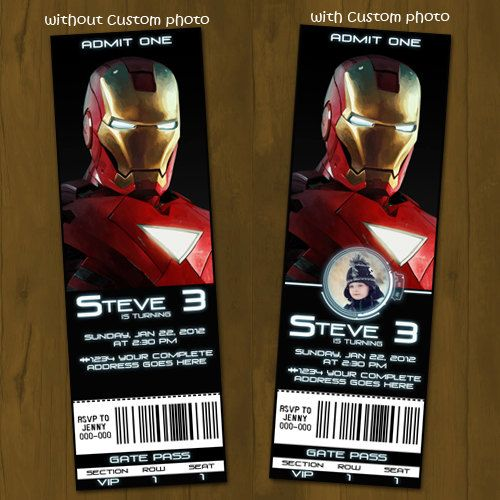 Iron Man 2 Ticket Invitation Printable - Ticket Style Birthday - printable ticket invitations