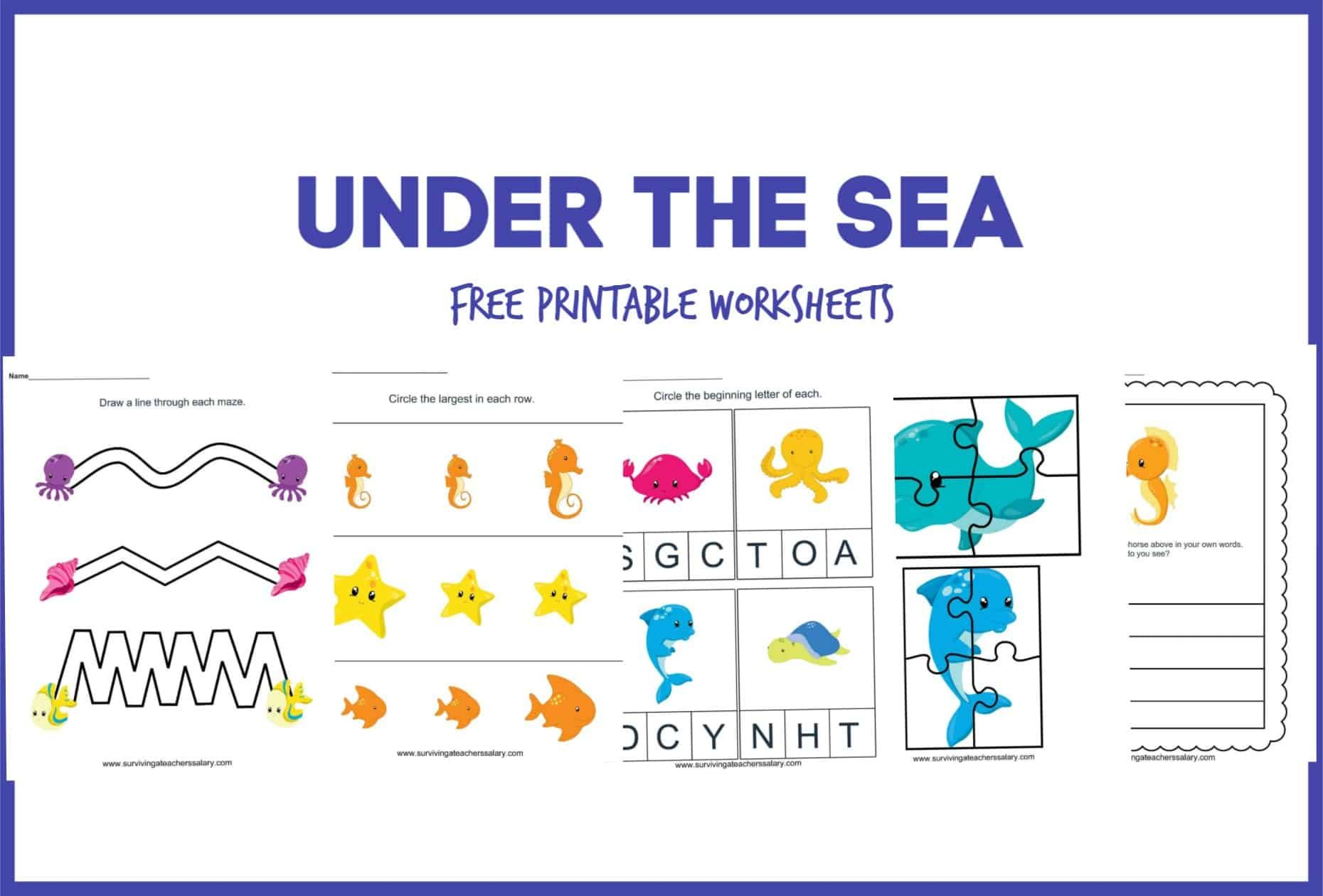 Free Under The Sea Worksheet Printable Preschool Set In