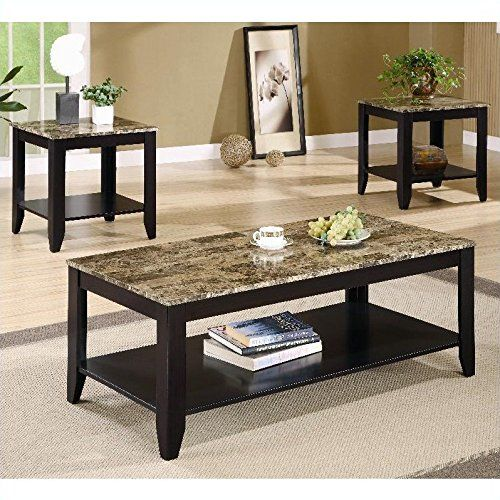 Coaster 3pc Coffee Table & End Table Set Faux Marble Top Espresso ...