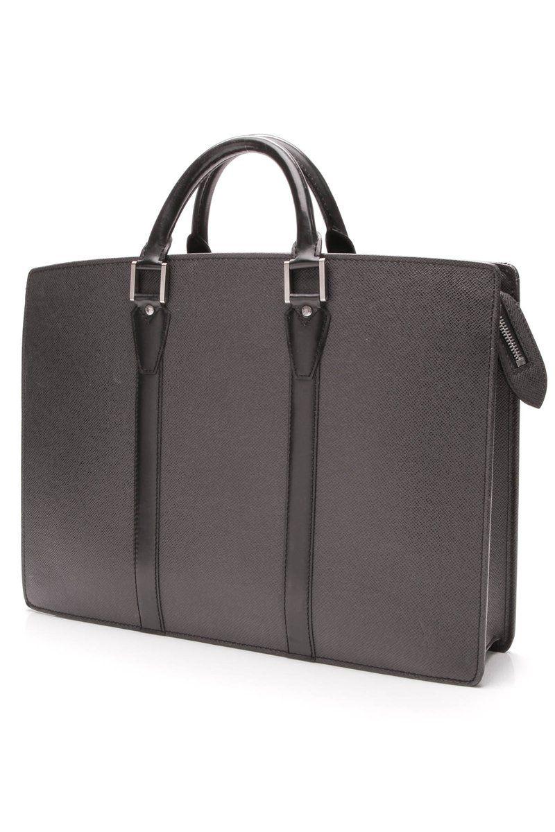 Lozan Briefcase Black Taiga Leather Louis Vuitton Louis