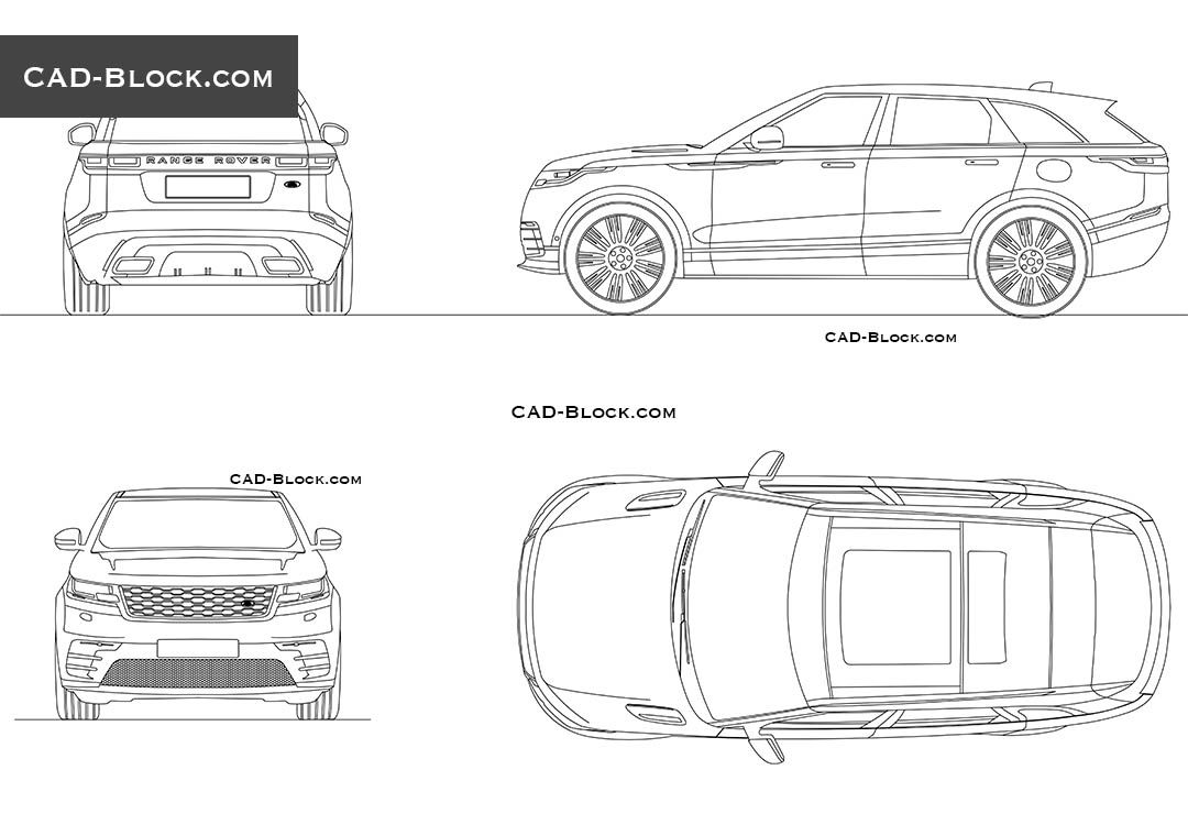 Range rover velar cad block vehicles pinterest range for Cad car plan