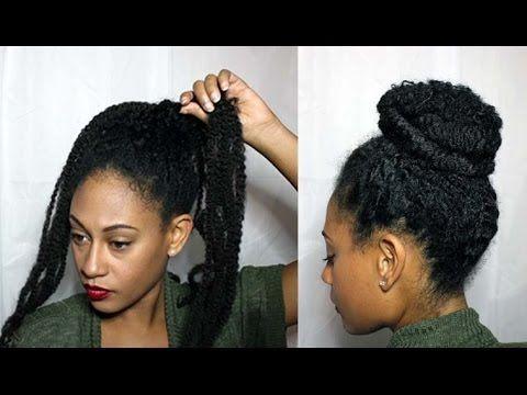 Natural Textured Bun W Marley Braiding Hair Youtube Marley Braiding Hair Braided Hairstyles Hair Styles