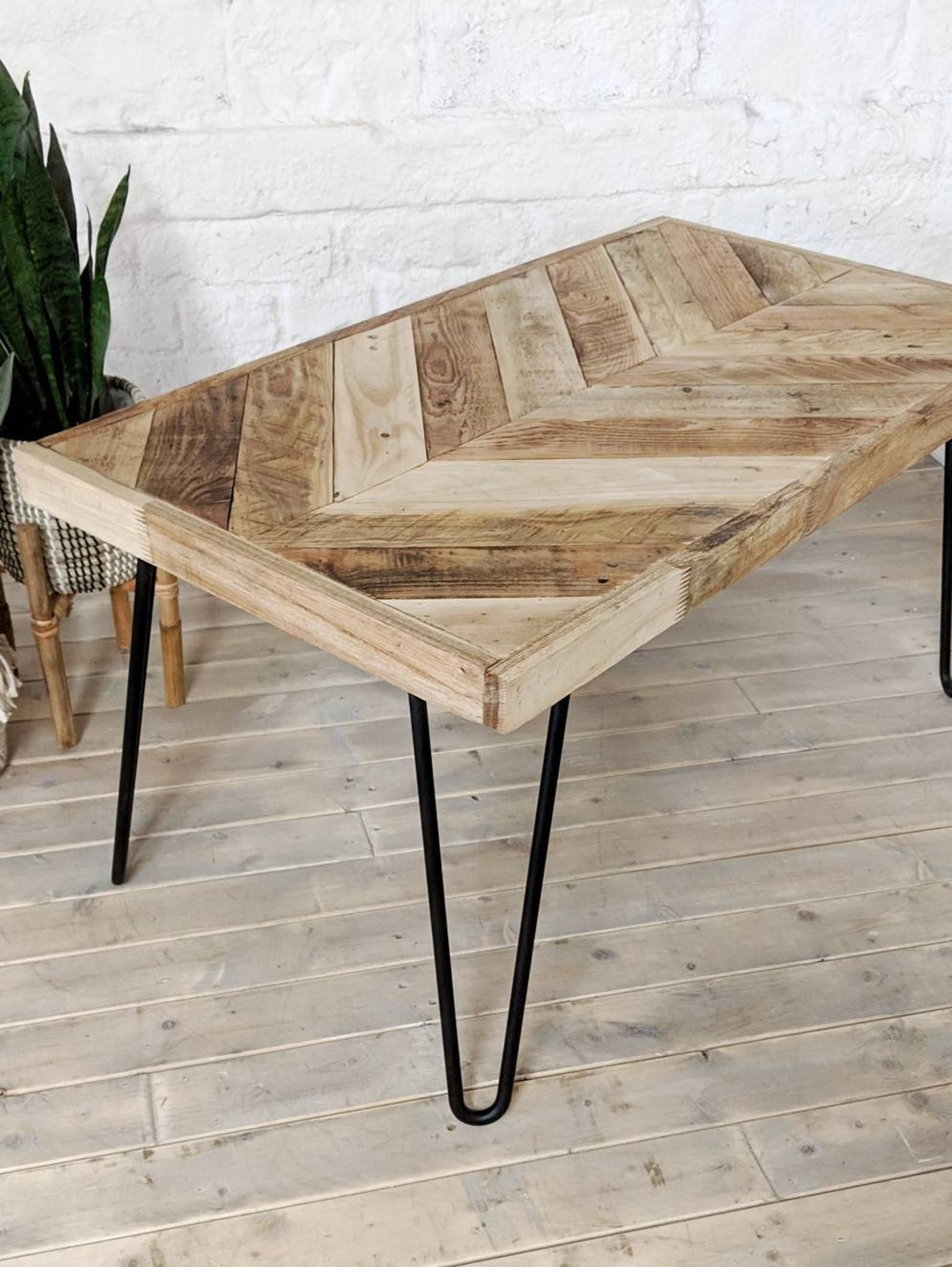 Chevron Coffee Table Kalasaba In Natural Finish With Hairpin