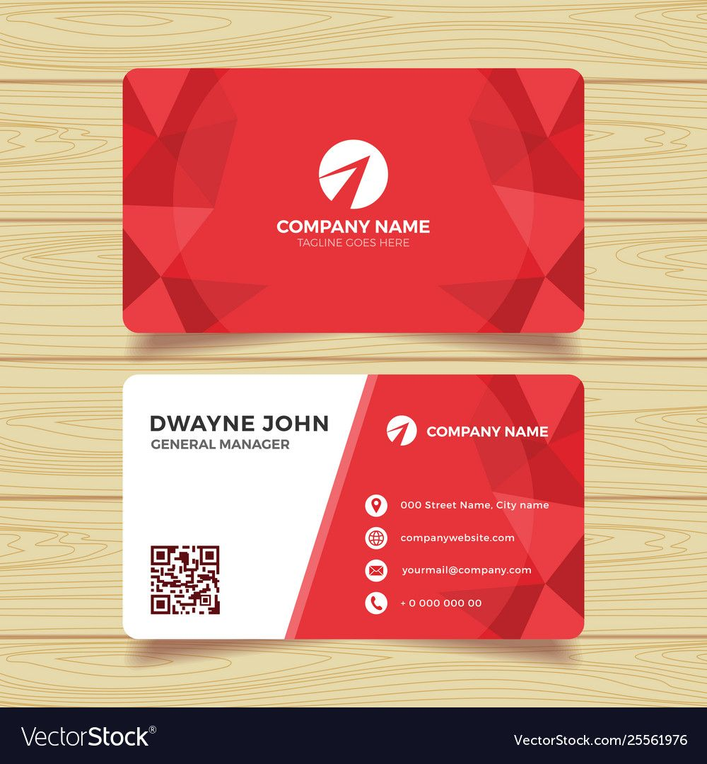 Red Geometric Business Card Template Pertaining To Template For Calling Card Calling Cards Cards Business Card Templates Download
