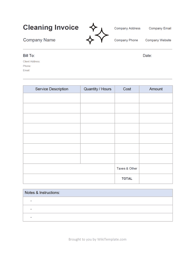 Invoice Template Invoice Layout Clean House