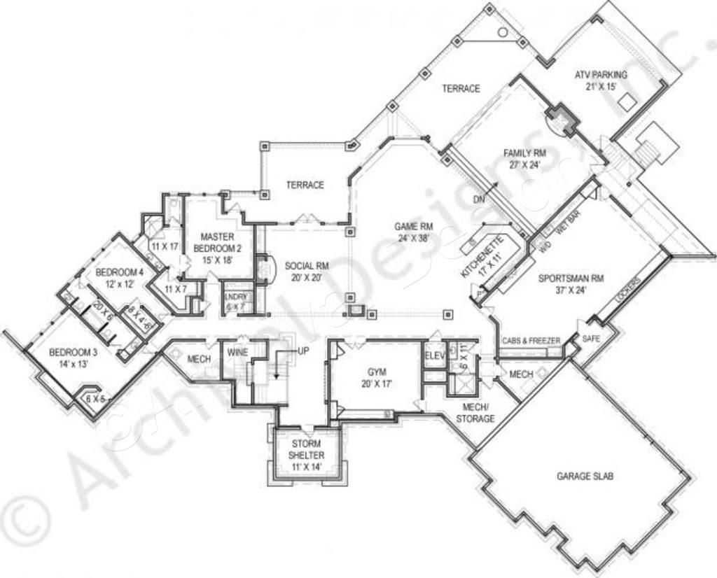 Kettle Lodge House Plan Daylight Basement Floor House Plan Basement Custom Floor Plans Mountain House Plans Basement Flooring Options