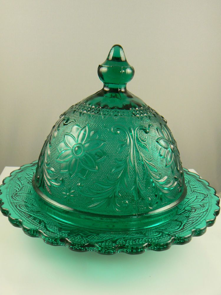 Vintage Emerald Green Glass Butter Dish With Lid A3 Butter Dish Butter Cheese Green Glass