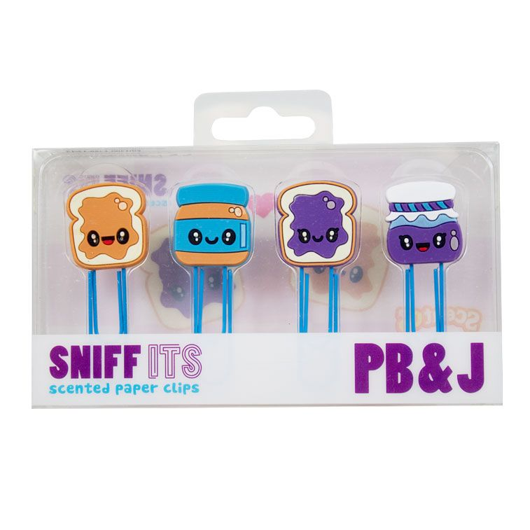 The Sniff Its PB & J 4-Pack includes 4 of our scent-infused silicone characters each with an attached clip. Use them as paper clips, bookmarks, or decorations. Collect all 4 sets!   Scent infused silicone characters Scents last for 2 years. 4 paper clips per package Peanut Butter and Jelly scented   Coming Soon