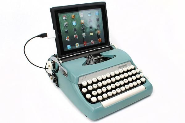 Typewriter Computer Keyboard / iPad Stand (Model B) Turquoise Blue