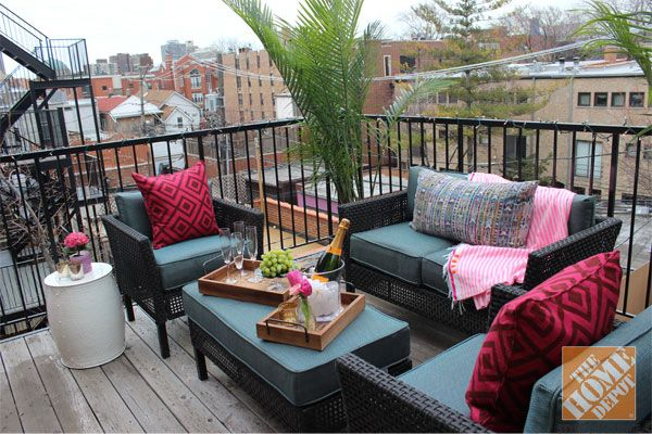 @Alex Jones Leichtman Kaehler's small urban balcony is decorated with the @Home  Depot Fenton