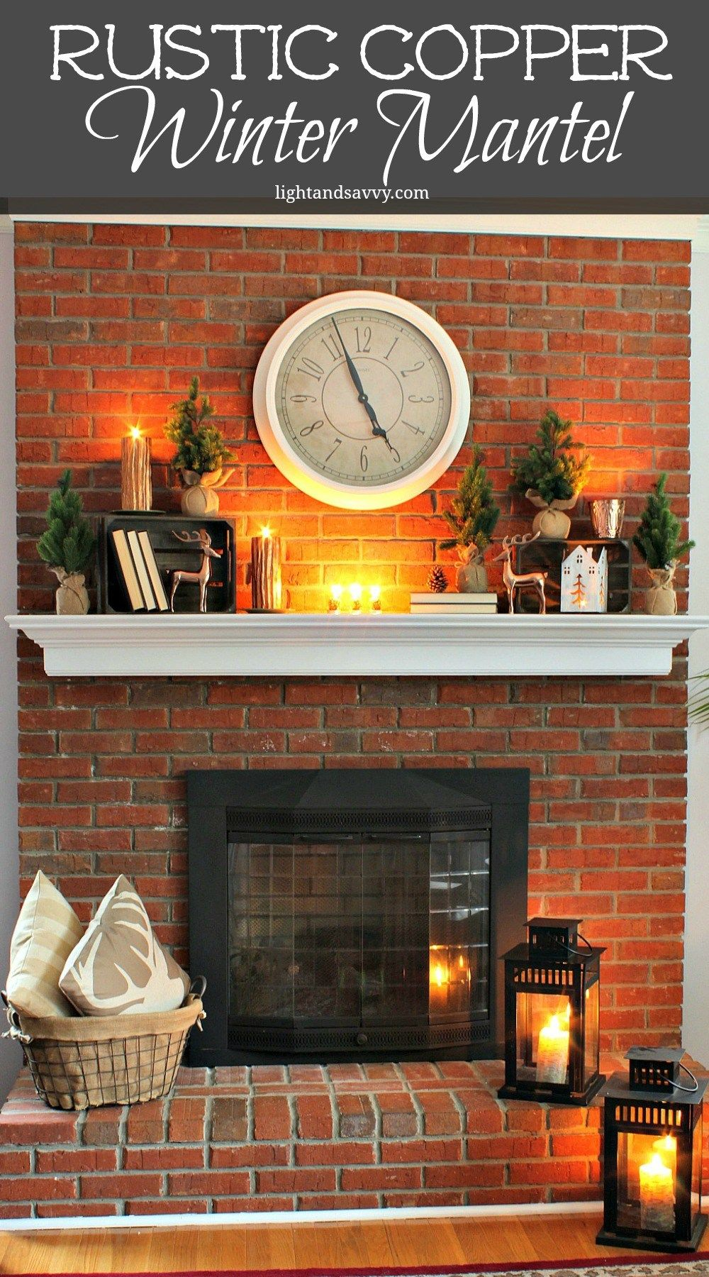 Rustic Copper Winter Mantel both Night and Day!