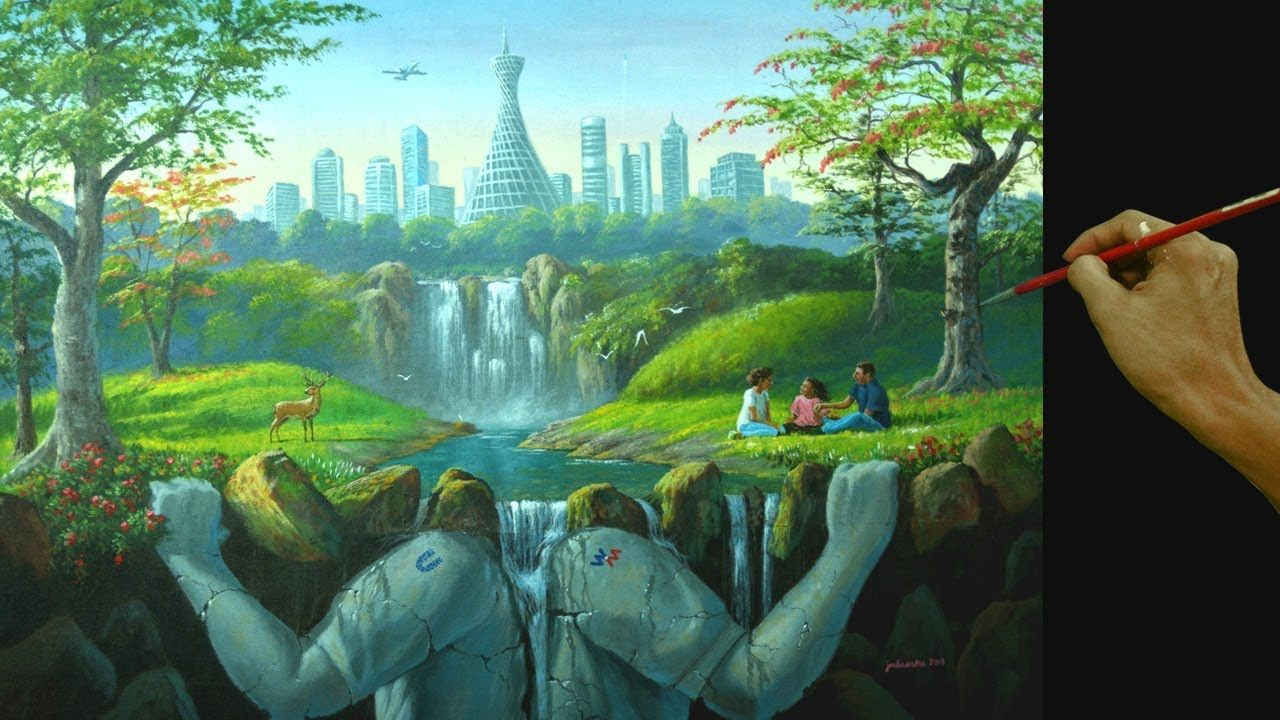 Surreal Painting With Futuristic Concept Acrylic Landscape Painting In Surrealism Painting Landscape Paintings Acrylic Landscape Paintings