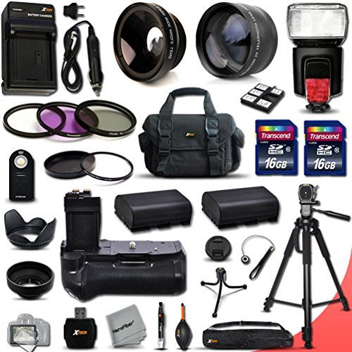 USE!  Mega Pro Accessory Kit for Canon EOS 60D DSLR Camera Includes High Definition 2X Telephoto Lens  High Definition Wide Angle Lens  Multi Power Battery Grip  2 High Capacity LP