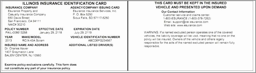 Auto insurance card template pdf inspirational illinois