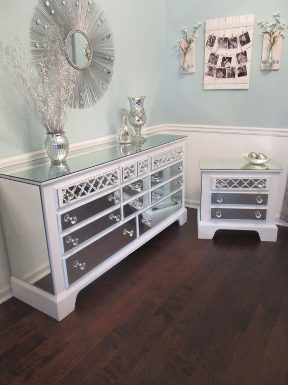 Mirrored Dresser And Matching Nightstand Pure White With Quatrefoil Overlay Mirrored Bedroom Set Annie Sloan Pure White Chalk Paint
