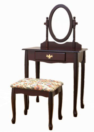 Queen Ann Bankje.Queen Anne Style Cherry Finish Wood Vanity Table Stool Bench And