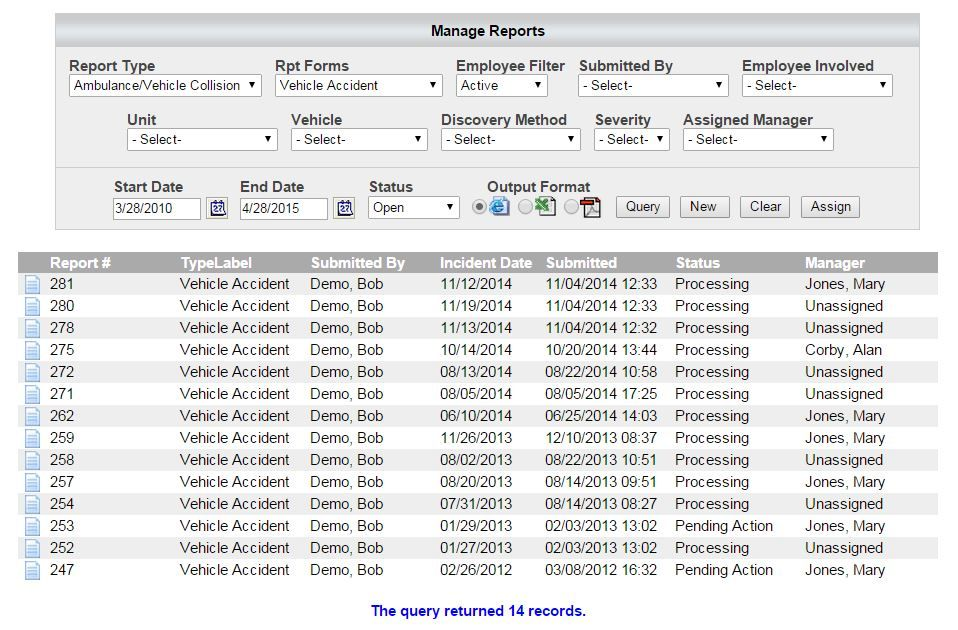 Manage reports with ease online. Track current statuses in