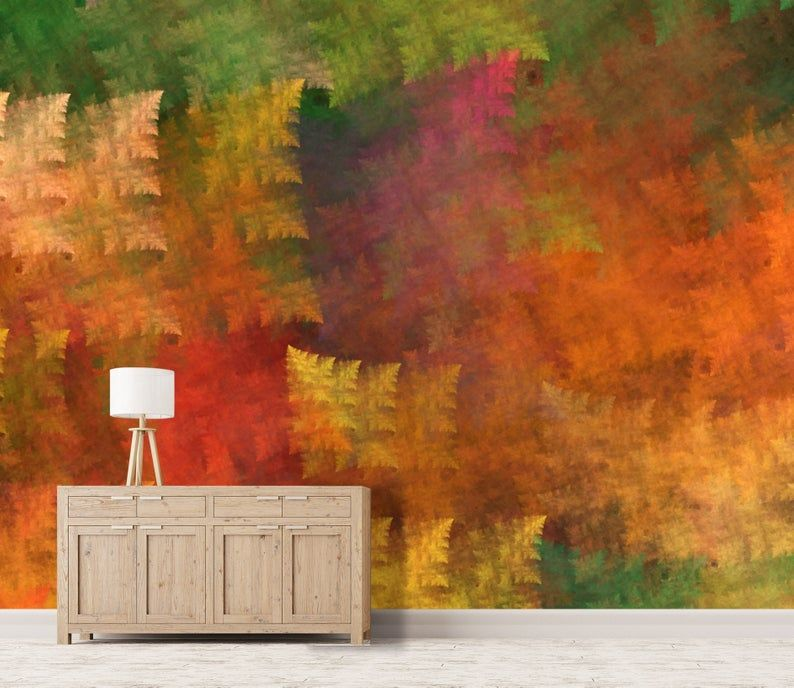 3D Oil painting, Warm color, Autumn scenery Wallpaper, Removable Self Adhesive Wallpaper, Wall Mural,Vintage art,Peel and Stick #autumnscenery