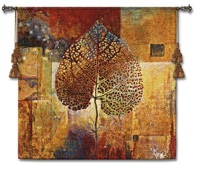 Abstract Autumn Dried Autumn Leaf Over A Patchwork