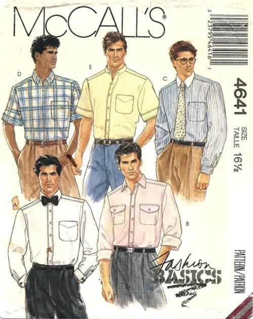 McCall's 4641; ©1989; Men's Shirts.  Shirt A, B, C, D or E: buttoned front band, collar and sleeve variations, self-lined back yoke with forward shoulder seams and patch pocket(s).  Back has center box pleat and optional dart fitting. #McCalls #mens #shirt #outofprint