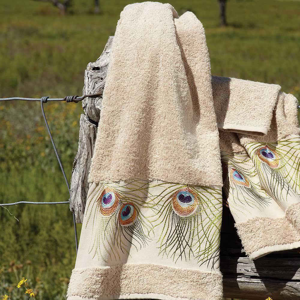 Peacock bathroom towels -