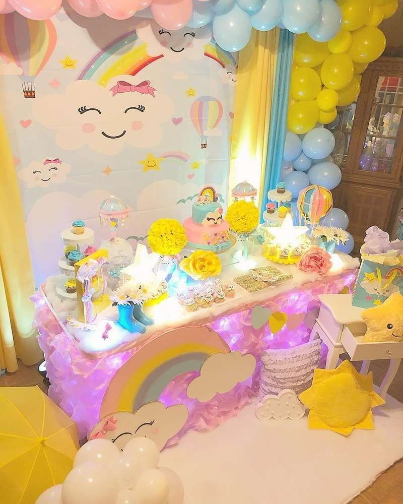 Loving The Dessert Table At This Happy Clouds Birthday Party See More Party Ideas And Share You Rainbow Birthday Party Girls Birthday Party Themes Birthday