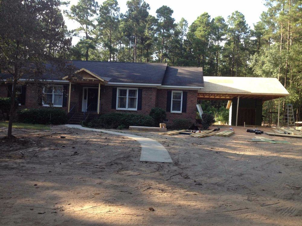 New Carport and Porch Adds Curb Appeal to a 80's Brick