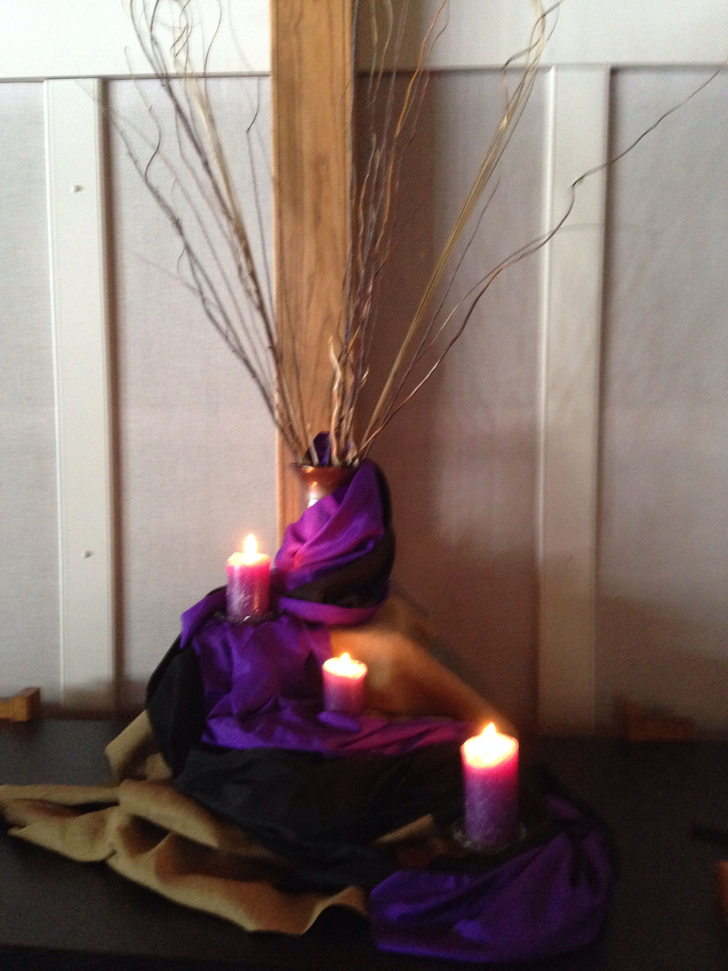 Lent Decor Idea I Love The Use Of The Purple And The Candles And