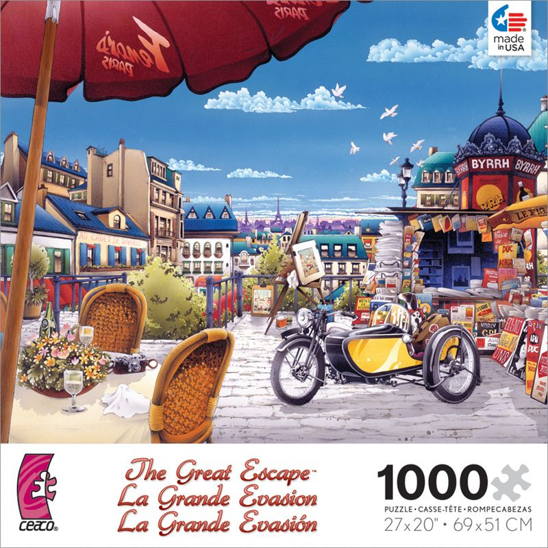 Escape to Paris in this whimsical travel collection by Ceaco. Each puzzle is 1000 pieces and measures 27 x 20 when complete. Released June 2013.
