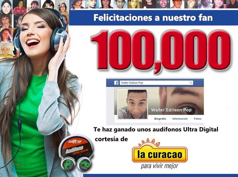 Felicitaciones a Walter Edilson Pop, quien se hizo acreedor a unos útiles audífonos por ser el nuevo fan 100,000.  Darnos en Facebook sus datos para entrega de su obsequio.