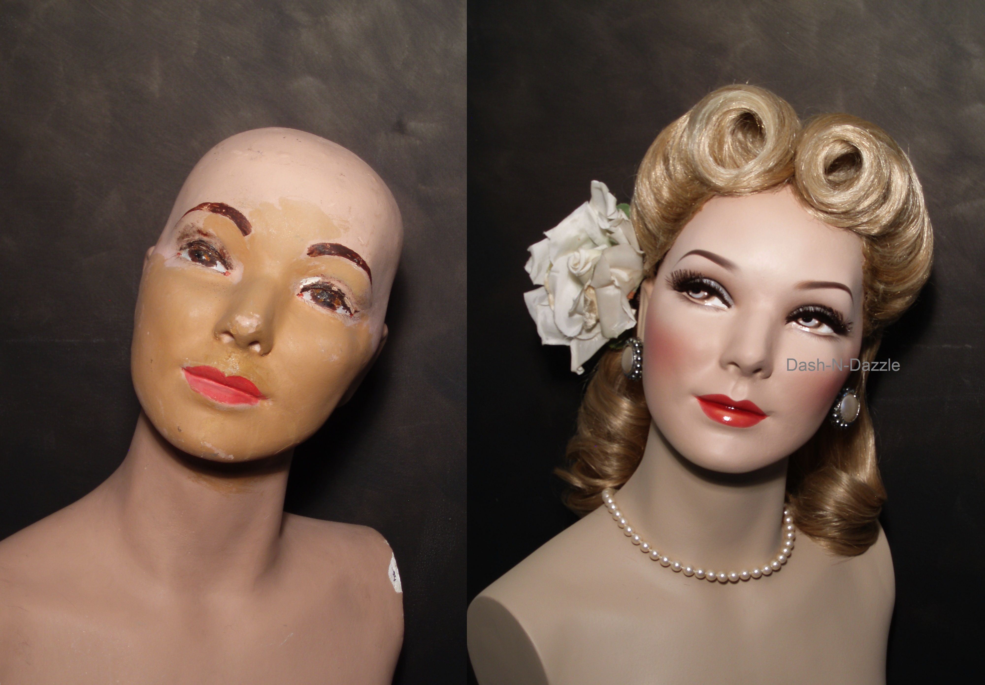Restored 40's mannequin before & after