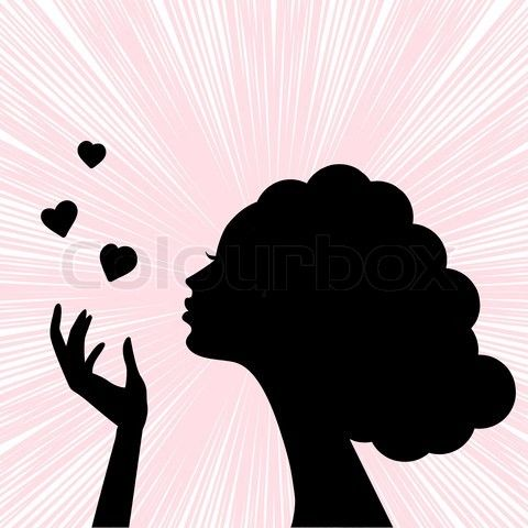 vector of u002639beautiful woman face silhouette with heart ...