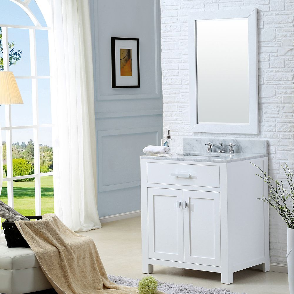 Madison 30 Inch W Vanity In White With Marble Top In Carrara White And Matching Mirror With Images Single Sink Bathroom Vanity Bathroom Vanity Double Vanity Bathroom