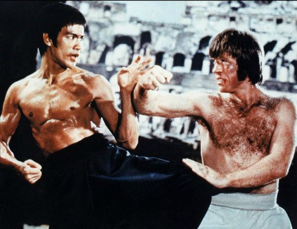 Bruce Lee and Chuck Norris in the movie Return of the Dragon 1974 ...