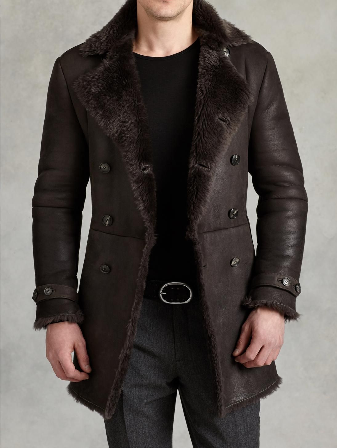 John Varvatos Double Breasted Shearling Coat