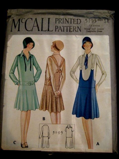 Vintage 1920s McCalls Flapper Dress or Jumper Pattern 5195 | eBay ...