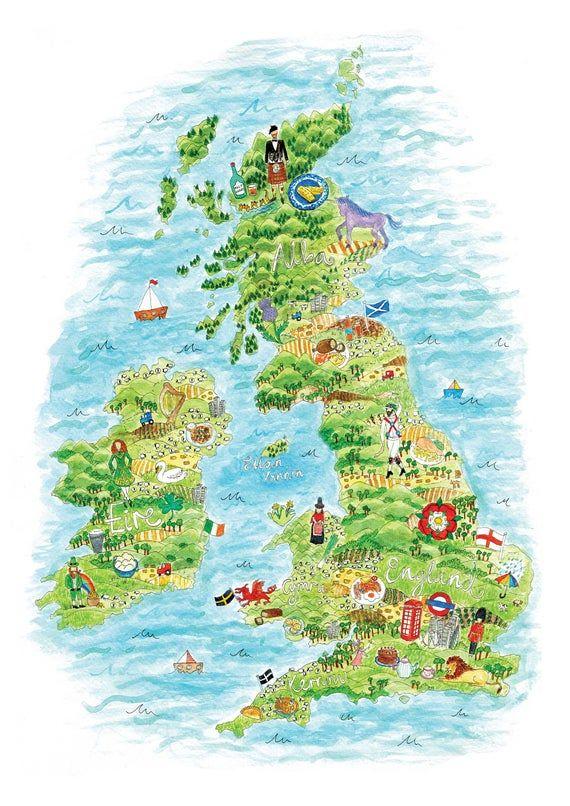 Britain Map Art, UK Map Print, British Isles, UK and Ireland, Great Britain, Map Art, Wanderlust, UK #britishisles