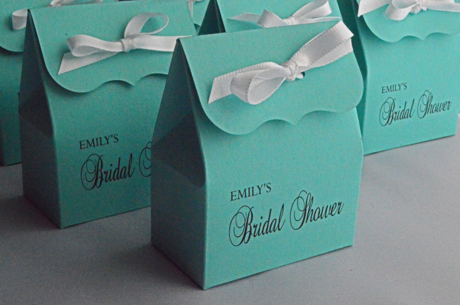 bridal shower favor bags in blue with white ribbon by sosiatogo on etsy https