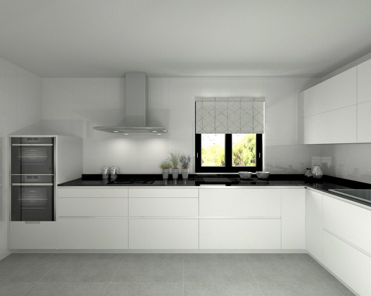 Modelo line l blanco seda encimera granito negro Cocina blanca encimera granito negra