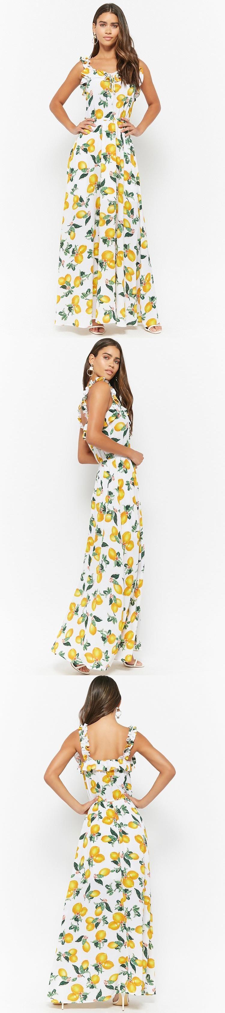 Eta lemon print maxi dress usd forever new forever