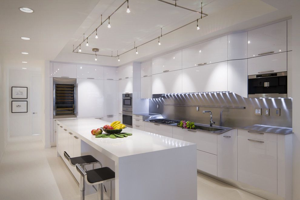 Lighting High Tech White Kitchen Designs Concept With Long Island And Stylish Track Ideas Black Stools Sleek Wall Mounted Cabinet Doors